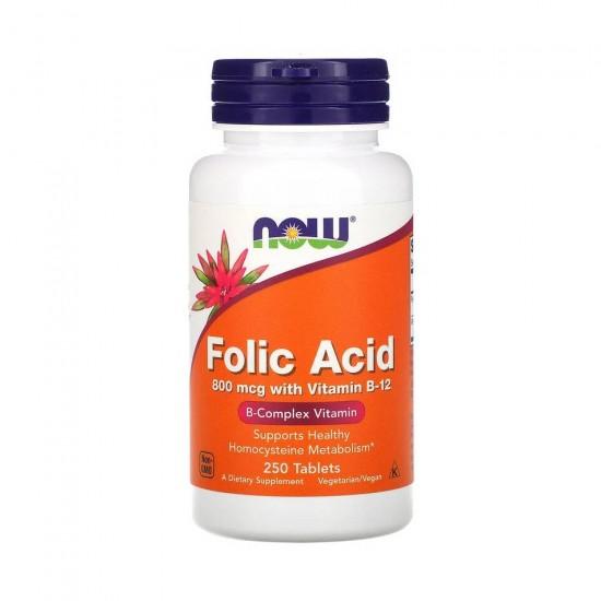 Folic Acid 800 мкг 250 таб NOW Foods